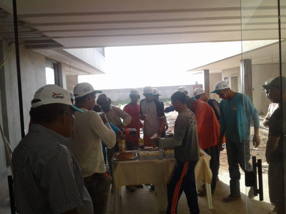 Café da manhã na obra do nosso cliente Valdomiro